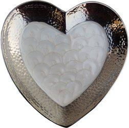 Brass Gift Center Aluminium Heart Shape Platter Aluminium Decorative Platter(Silver, White)