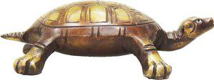 Brass Gift Center Tortoise in Antique finish with Lacquer Showpiece  -  4 cm(Brass, Brown, Yellow)