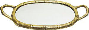 Brass Gift Center Aluminium Tray Oval Shape with Mirror Aluminium, Glass Decorative Platter(Yellow)