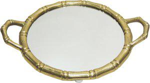 Brass Gift Center Tray Round Shape with Mirror Aluminium, Glass Decorative Platter(Yellow)