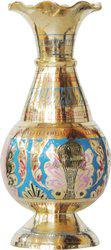 Brass Gift Center Flower pot with Handwork Brass Vase(8 inch, Multicolor)