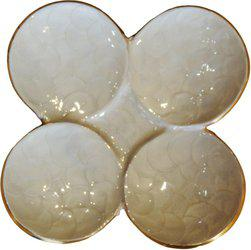 Brass Gift Center Aluminium Tray Shape Platter White & gold Aluminium Decorative Platter(White, Yellow)