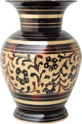 Brass Gift Center Jaar Kala Flower pot with Handwork Brass Vase(5.5 inch, Multicolor)