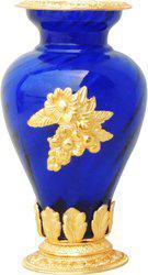 Brass Gift Center Flower Pot Glass Gold Dark Blue Aluminium, Glass Vase(10.5 inch, Blue, Yellow)