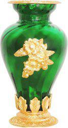 Brass Gift Center Flower Pot Glass Gold Green Aluminium, Glass Vase(10.5 inch, Gold, Green)