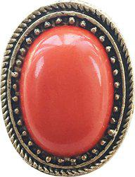 AASHYA MAYRO Retro Vintage Red Crystal stone Gold Oxidized Designer Big Adjustable Alloy Crystal Ring
