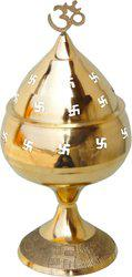 Brass Gift Center Deepak with Cap Brass Table Diya(Height: 10.2 inch)