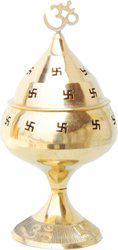 Brass Gift Center Deepak with Cap Brass Table Diya(Height: 9.5 inch)