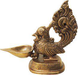 Brass Gift Center Diya (Deepak) with hen Brass Table Diya(Height: 5 inch)