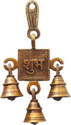 Brass Gift Center Latkan with 3 bell Brass Pooja Bell(Yellow)