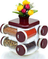 Cierie Specially designed revolving base for ease of use 8 Piece Condiment Set(Polypropylene)
