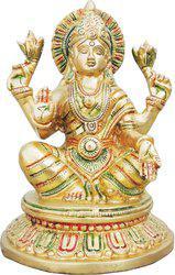 Brass Gift Center Brass laxmi ji In Mutlicoilur finish with Lacquer Decorative Showpiece  -  20 cm(Brass, Yellow)