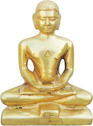 Brass Gift Center Mahaveer Ji Statue Decorative Showpiece  -  12 cm(Brass, Yellow)