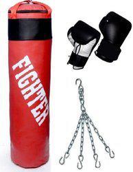 Fighter RED Punching bag & Punching Gloves Boxing Kit