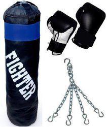 Fighter BLACK Punching bag & Punching Gloves Boxing Kit