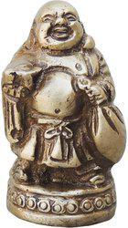 Brass Gift Center Brass laughing Buddha in Antique Finish Decorative Showpiece  -  6 cm(Brass, Grey)