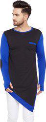 Hypernation Solid Men Round Neck Blue, Black T-Shirt