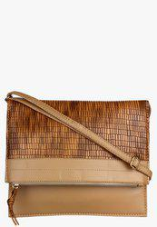 Tan Synthetic Leather Sling Bag