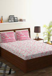 Cotton 130 TC Double Bedsheet With 2 Pillow Covers