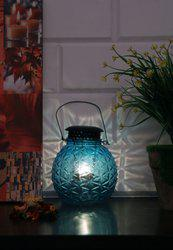 Sea Green Glass Hanging Pot Lantern With Lid