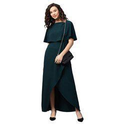 EmeraldFront Ruffle Slit Maxi Dress
