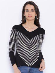 109F Women Black Striped Regular Top