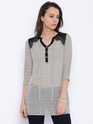 109F Off-White Printed Polyester Tunic