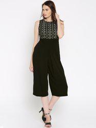109F Black Polyester Jumpsuit