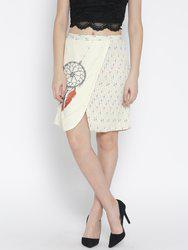 109F by Nishka Lulla Cream-Coloured Printed Panelled Skirt