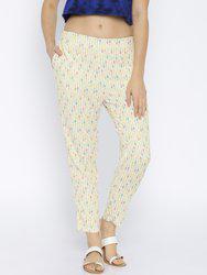 109F by Nishka Lulla Cream Printed Trousers