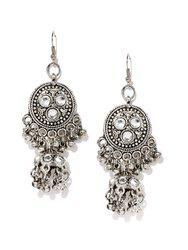 Anouk Silver-Toned Embellished Drop Earrings