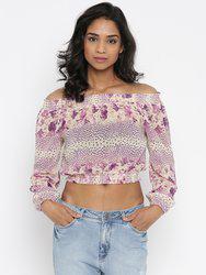 109F Women Lavender Printed Cinched Waist Crop Top