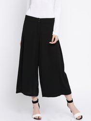 109F Women Black Solid Culottes