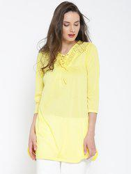 109F Yellow Crochet Detail Semi-Sheer Tunic