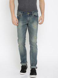 American Bull Men Blue Slim Fit Low-Rise Mildly Distressed Stretchable Jeans