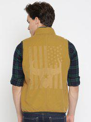 American Bull Men Khaki Printed Padded Jacket