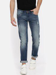 American Bull Men Blue Slim Fit Low-Rise Low-Distress Stretchable Jeans