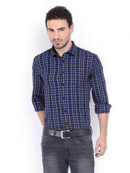 American Bull Men Black & Blue Checked Slim Fit Casual Shirt