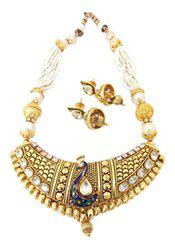 Peacock Statement Polki Pearl Multistrand Necklace Set