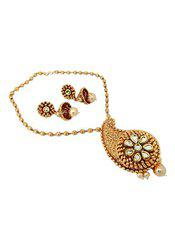 Paisley Design Pearl CZ Kundan Copper Gold Plated Necklace set