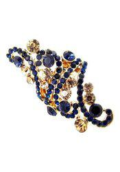 Sapphire Blue Long Party Wear CZ Gold Plated Adjustable Ring