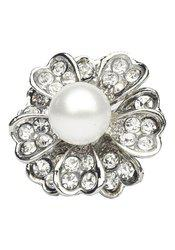 Flower Design Silver Cubic Zirconia Pearl Adjustable Finger Ring