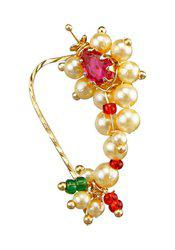 9blings Maharashtrian bridal Style Pearl Ruby Gold Plated Zinc Alloy Nose Ring