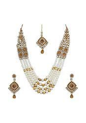 9blings Latest Design 4Line Pearl Champagne Color Cubic Zirconia Gold Plated Necklace Set