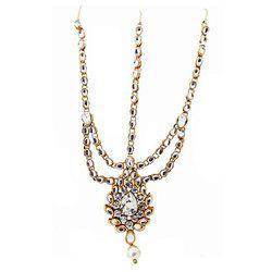 9blings Bridal Drop Shape Kundan Pearl Gold Plated Mathapatti Maang Tikka For Women