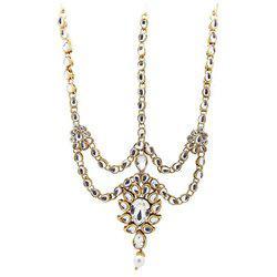 9blings Kundan Pearl Bridal Gold Plated Mathapatti Maang Tikka For Women