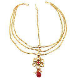 9blings Ruby Kundan Copper Gold Plated Mathapatti Maang Tikka For Women