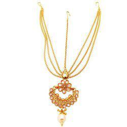 9blings Poki Kundan Pearl Copper Gold Plated Mathapatti Maang Tikka For Women