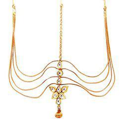 9blings Kundan Multistrand Copper Gold Plated Mathapatti Maang Tikka For Women