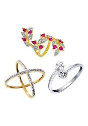 Aabhu CMB390 American Diamond Popular Combo of 3 Party Wear Finger Rings Jewellery For Women And Girls